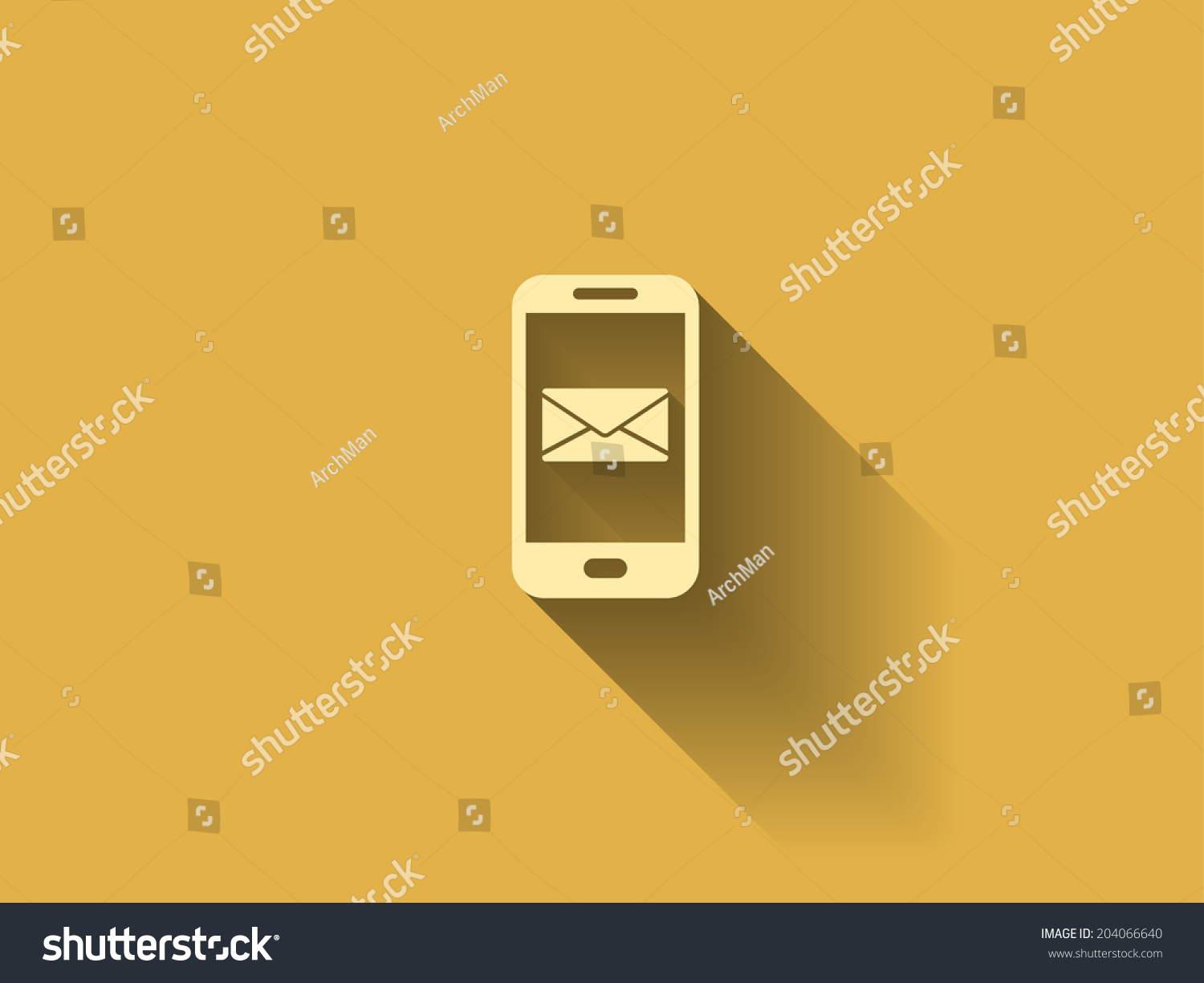 Long Shadow Mobile Mail Stock Vector (Royalty Free) 204066640