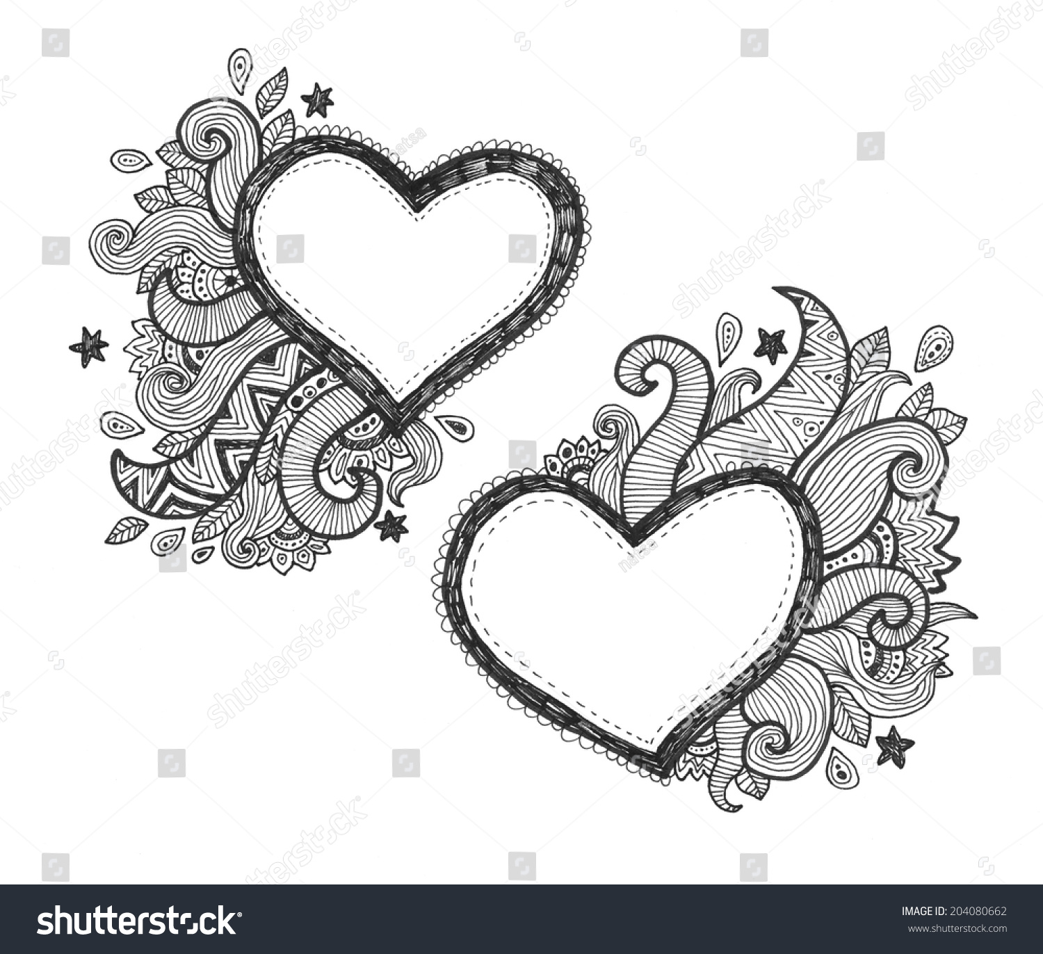 Heart frames for text with doodle ornaments   EZ Canvas