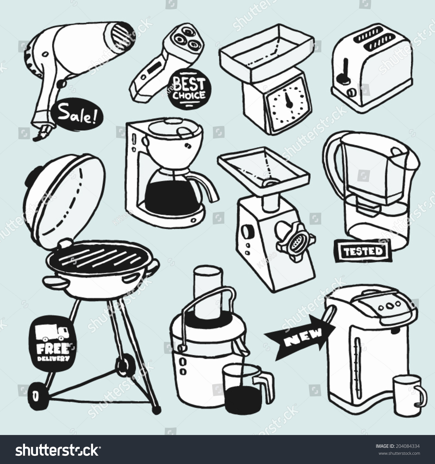 Cartoon kitchen appliances - Hand Drawn Cartoon Illustrations With Electric House Appliances Shaver Hair Dryer Toaster