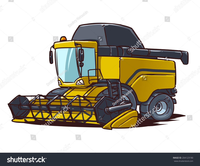 Tractor Cartoon Picker : Harvester combine cartoon illustration stock vector