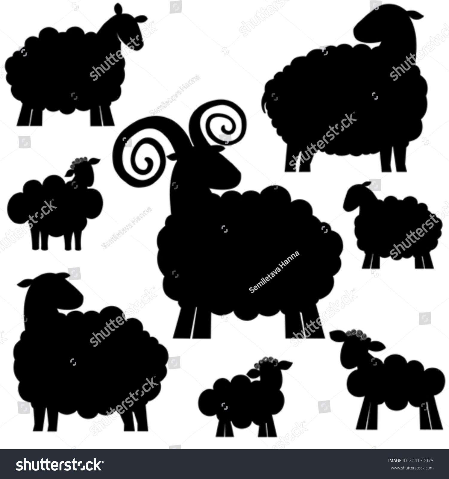 Set Black Silhouette Sheep Icon Isolated Stock Vektor ...