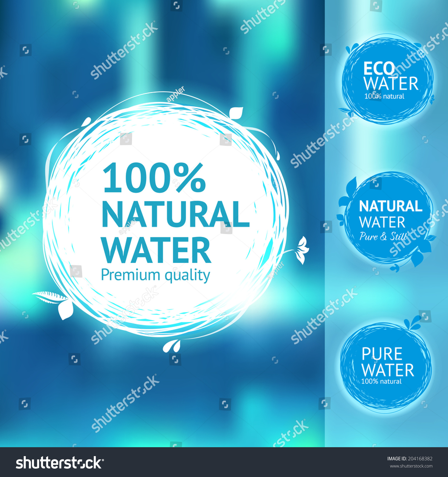 Still Fresh Natural Water Label Set Stock Vector 204168382 ...