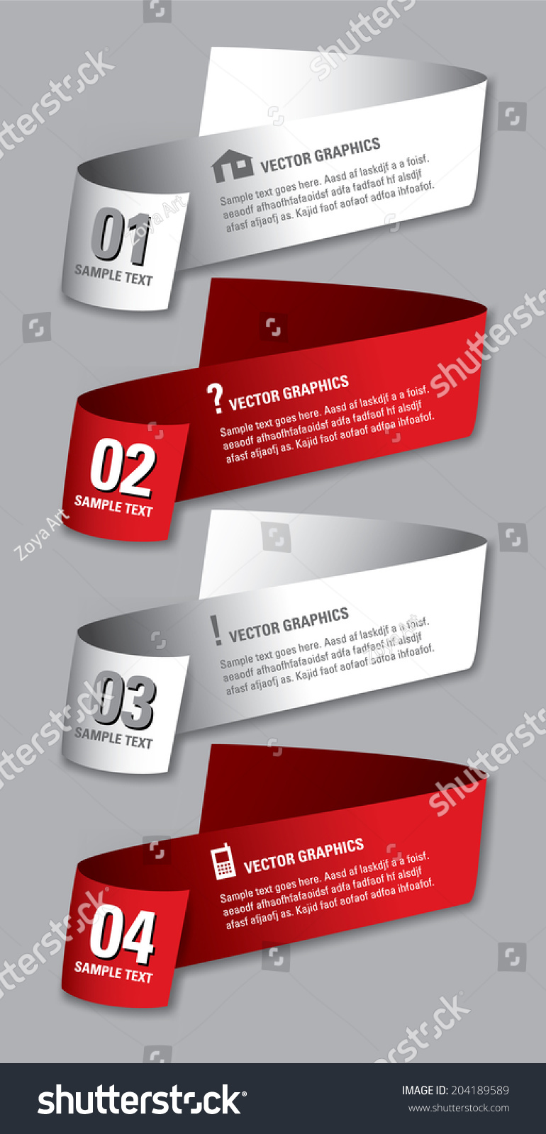 3d Numbered Banners Vector Eps10 Illustration Stock Vector (2018 ...