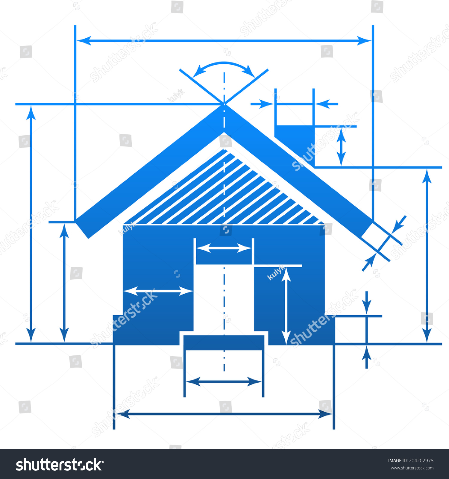 Home symbol with dimension lines element of blueprint drawing in shape of house sign