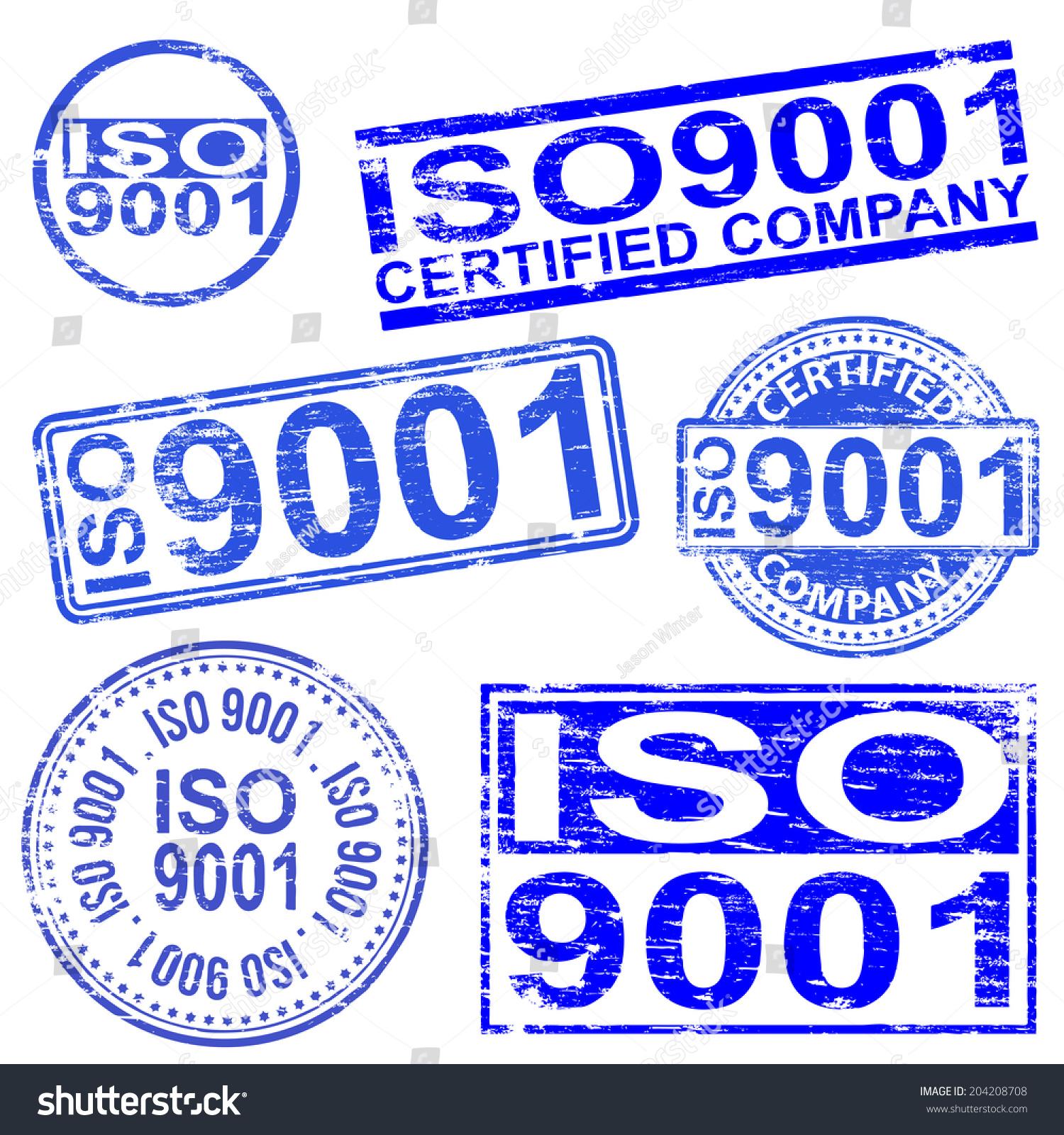 Iso 9001 Rubber Stamp Symbols Stock Illustration 204208708