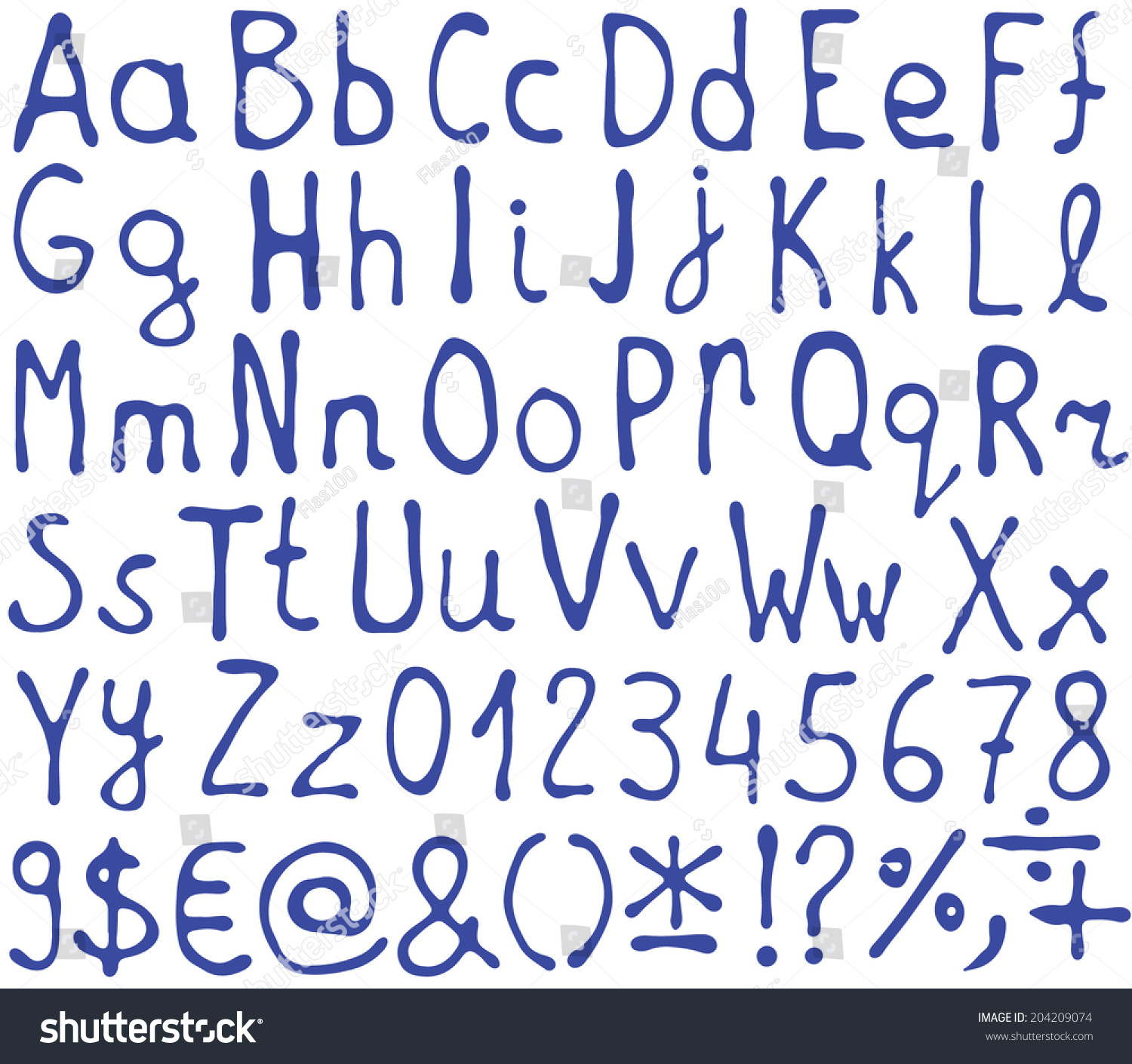 Collection Alphabet Letters Numbers Other Symbols Stock Vector