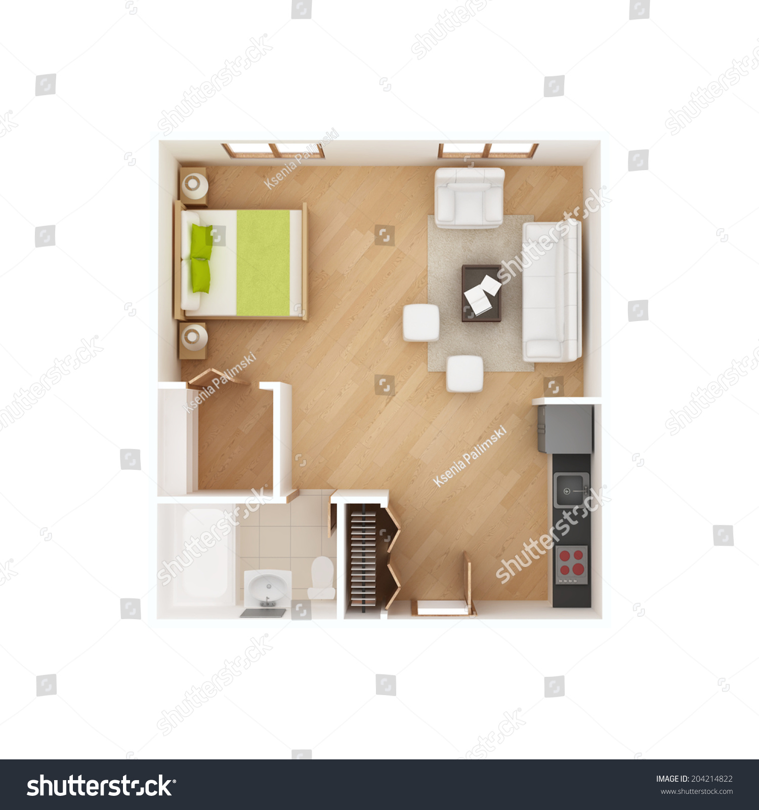 Studio apartment floor plan top view stock illustration for Photography studio floor plans