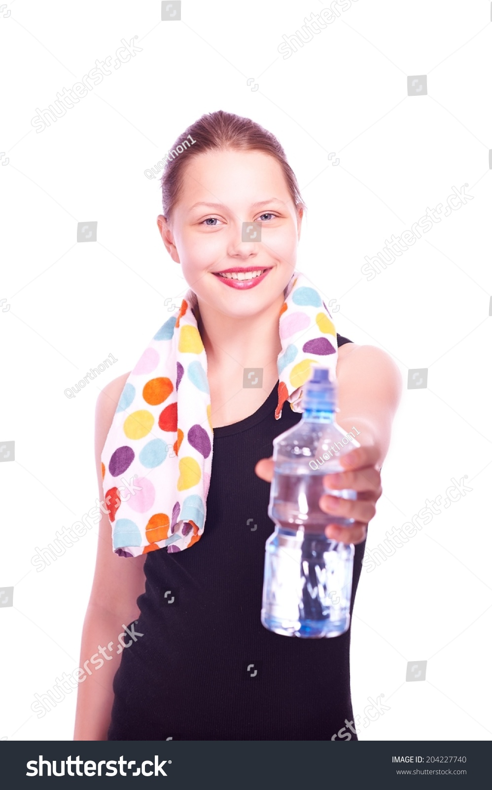 Happy Teen By Crumbling Wall Stock Image: Cute Happy Teen Girl Staying Towel Stock Photo 204227740