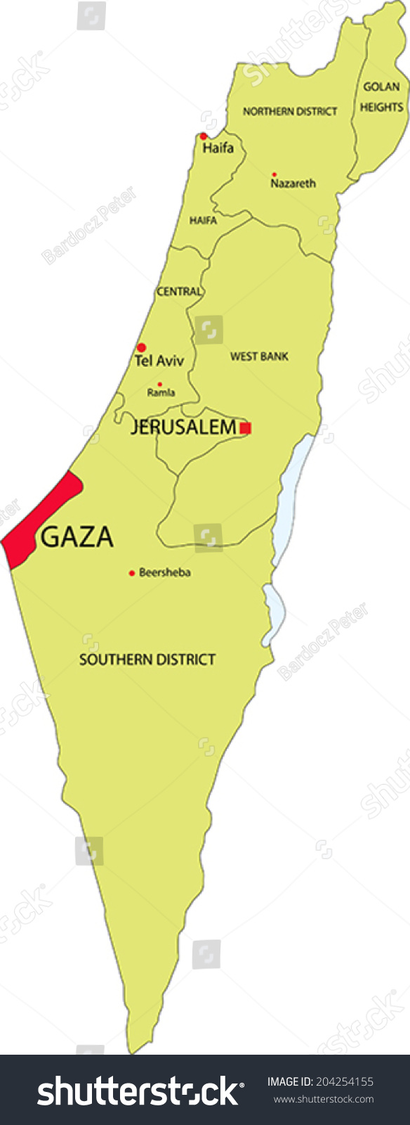 israel vector map with the gaza strip highlighted. israel vector map gaza strip highlighted stock vector