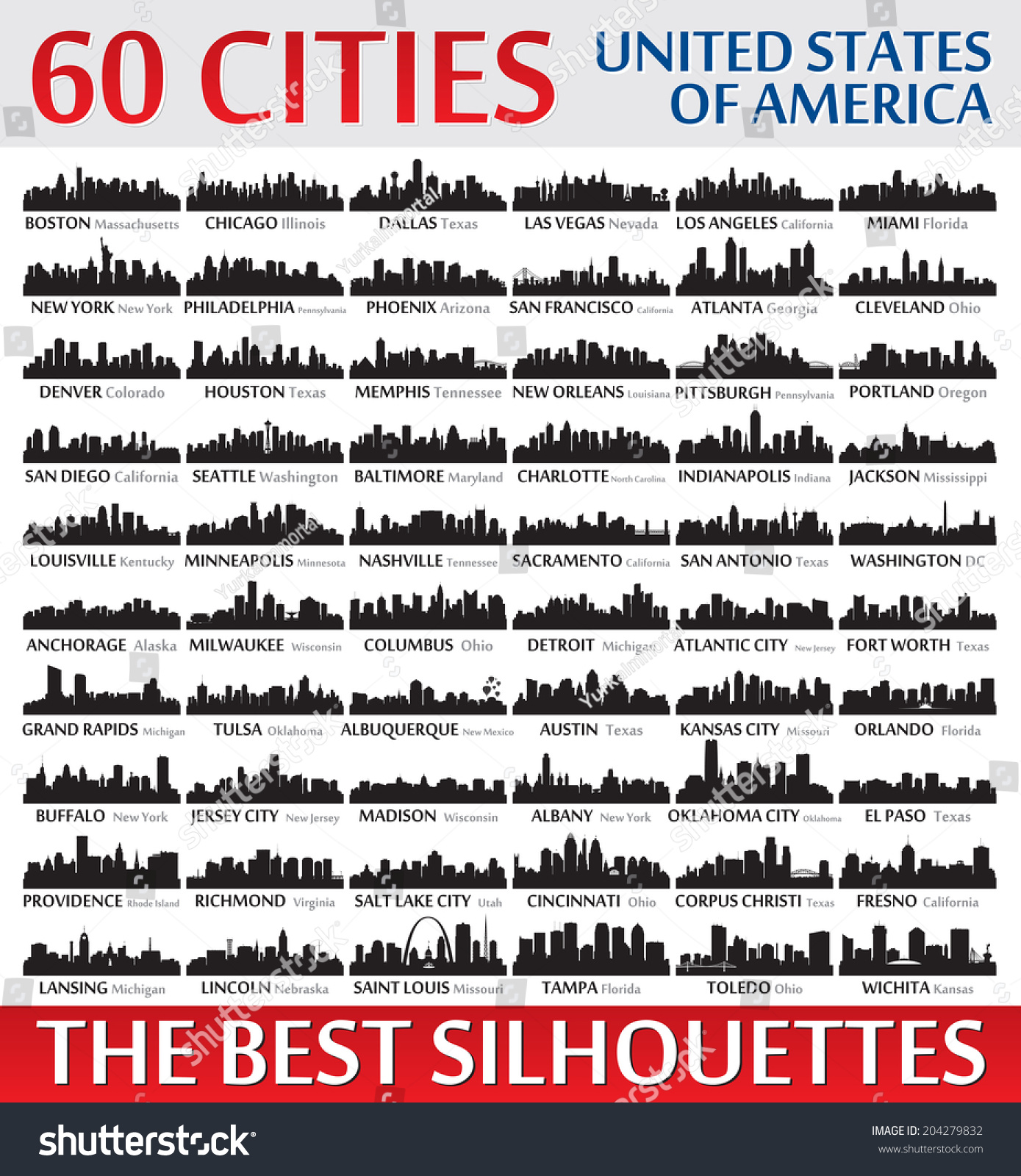 Incredible Skyline Set. 60 City Silhouettes Of United
