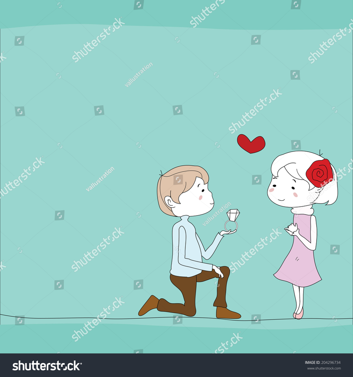 Boy propose girl ring background stock vector 204296734 - Boy propose girl with rose image ...