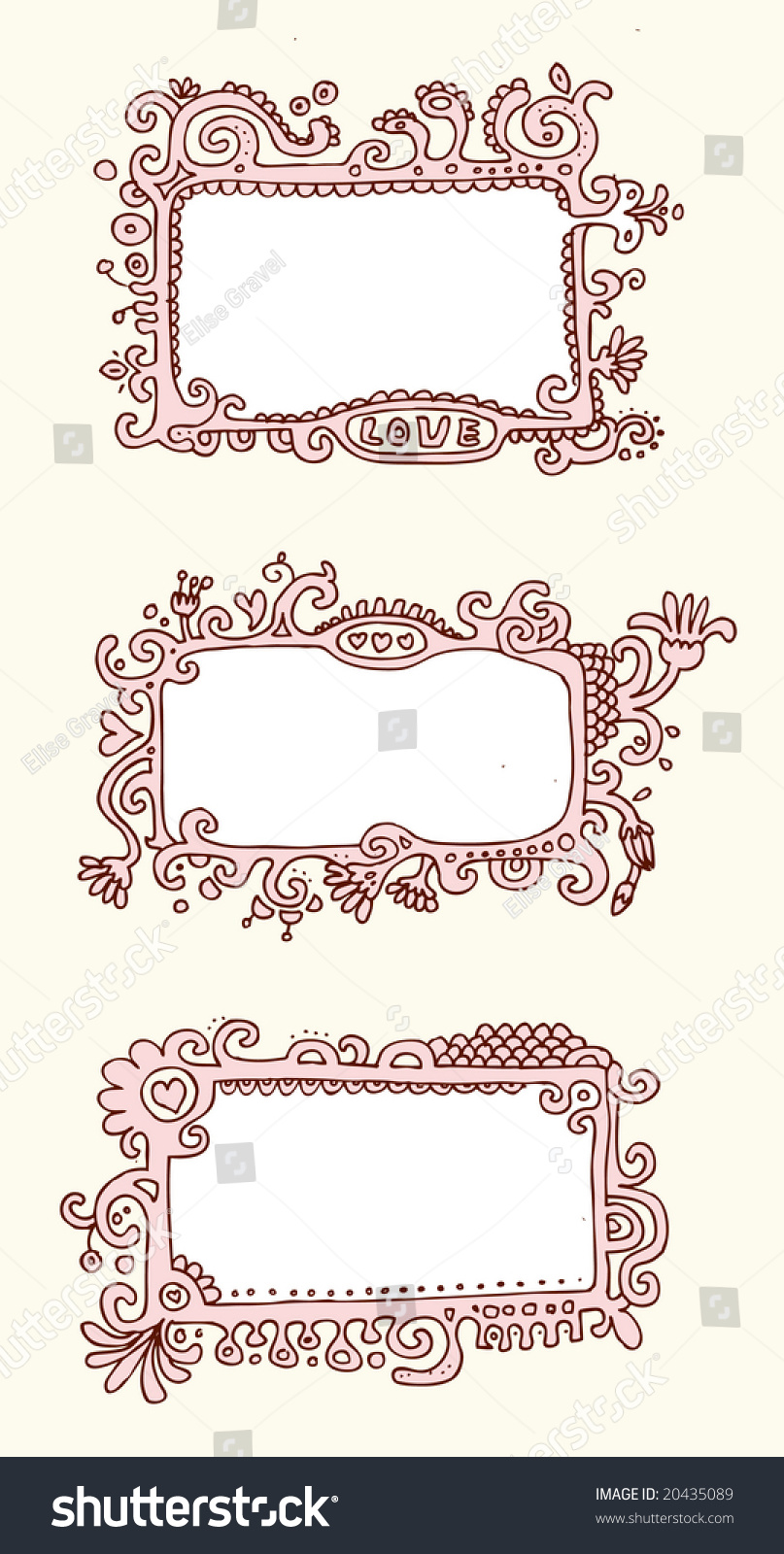 3 Crazy Psychedelic Doodle Frames These Stock Vector 20435089 ...