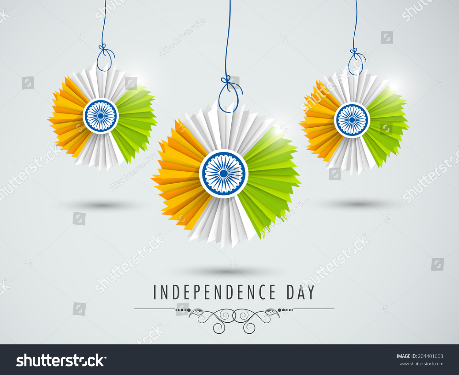 Beautiful hanging decorative indian national flag stock for 15 aug decoration
