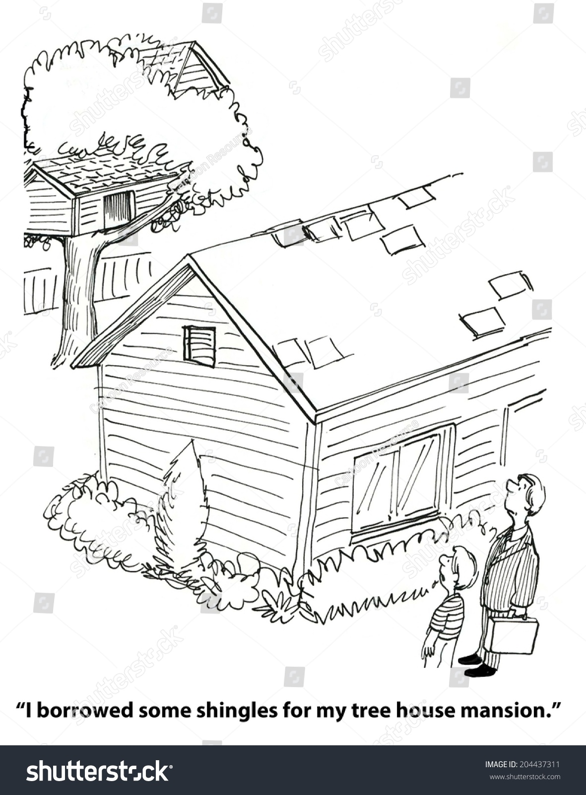 son used shingles his tree house stock illustration 204437311