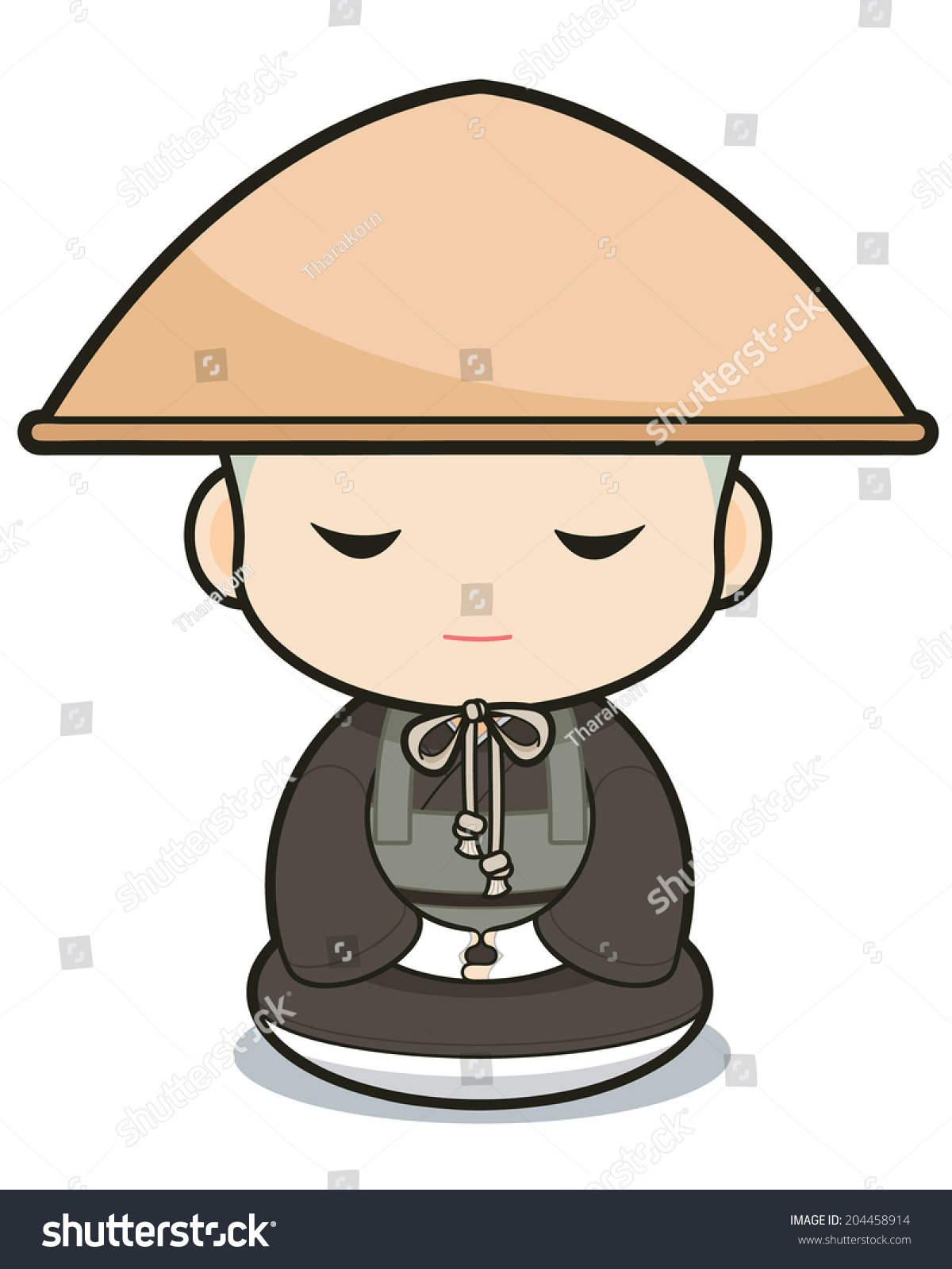 Buddhist Monasticism Cartoon Japanese Stock Vector 204458914 ...