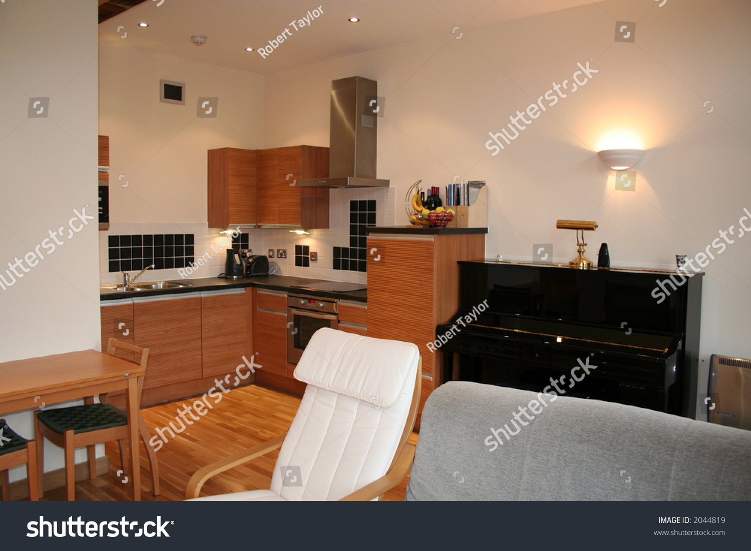 Kitchen Diner Apartment Showing Kitchen Diner Interior Upright Stock Photo