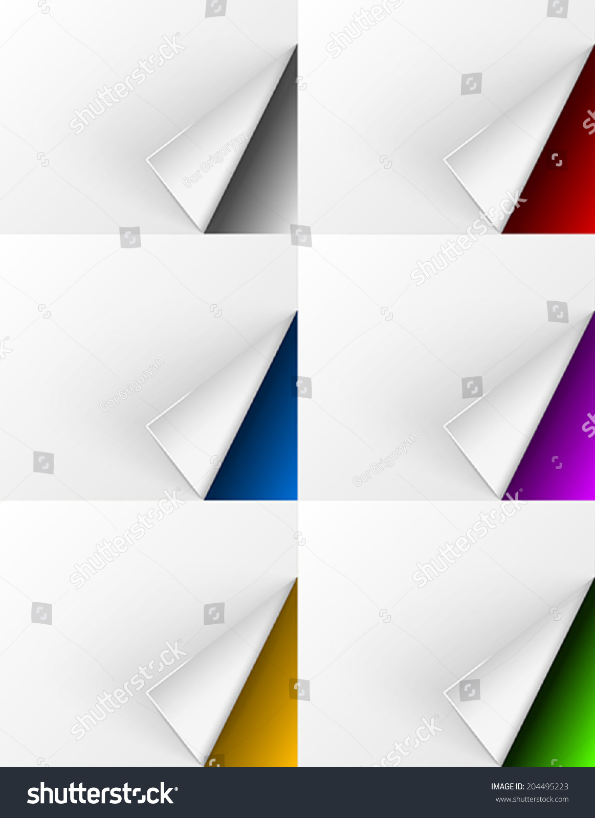 white paper curls on different colors stock vector royalty free