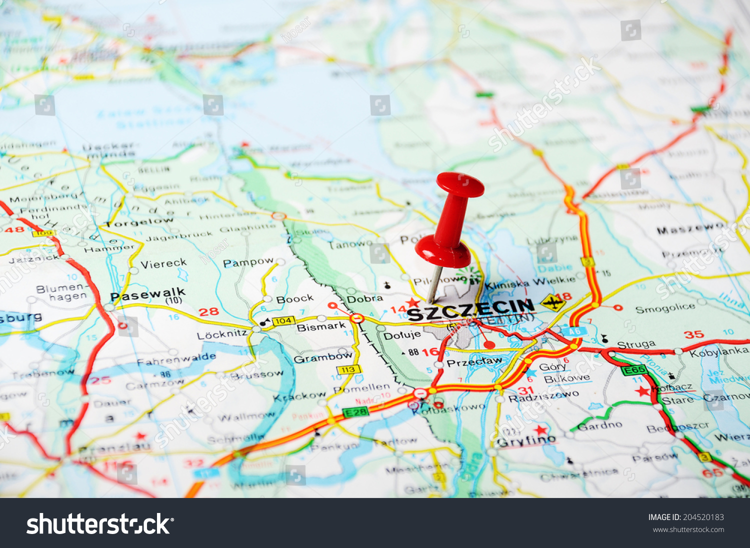 Close Szczecin Poland Map Red Pin Stock Photo Royalty Free