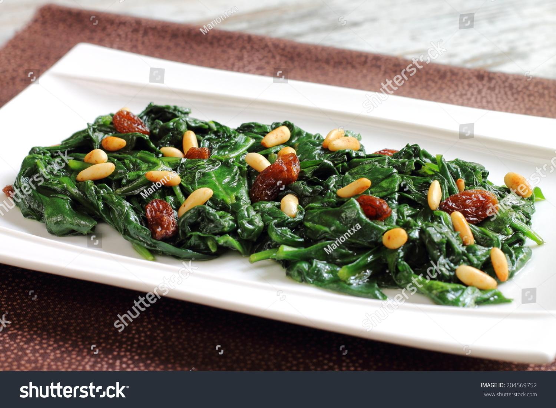 Spinach Catalan Style Raisins Pine Nuts Stock Photo ...