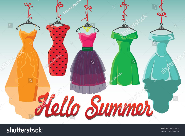 Set Colorful Fashion Cocktail Dresses Hang Stock Vector 204585043 ...