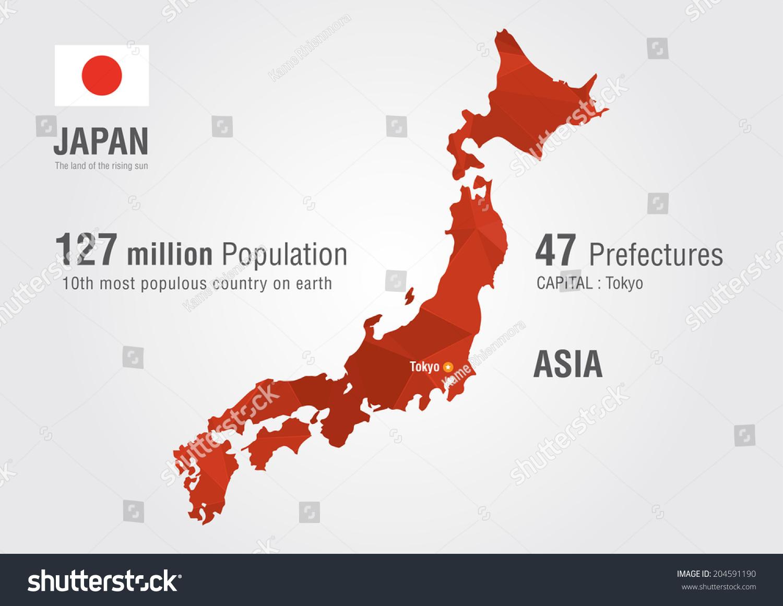 Japan Map Of The World.Japan World Map Pixel Diamond Texture World Stock Vector Royalty