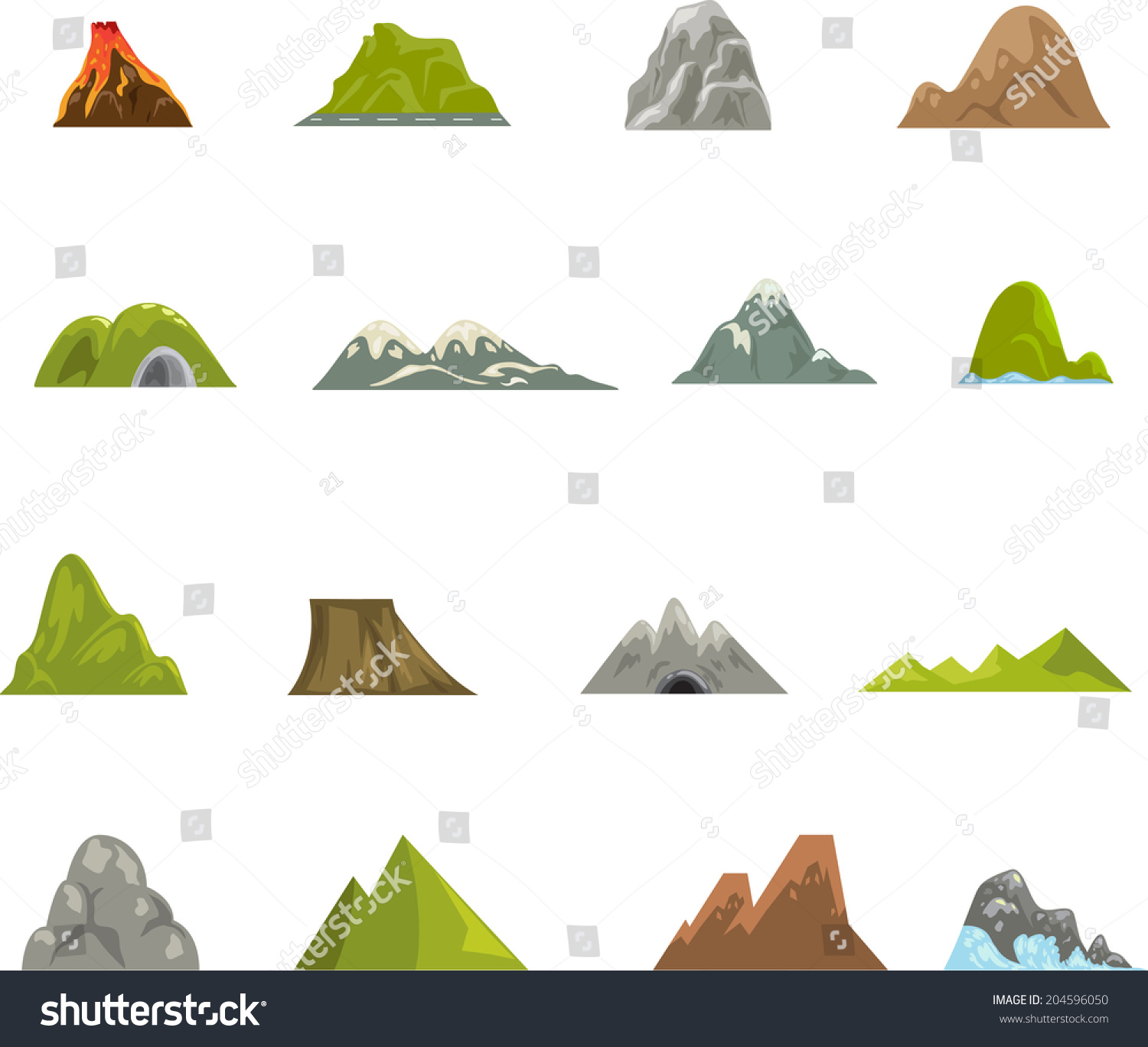 Mountain Icons Vector - 204596050 : Shutterstock