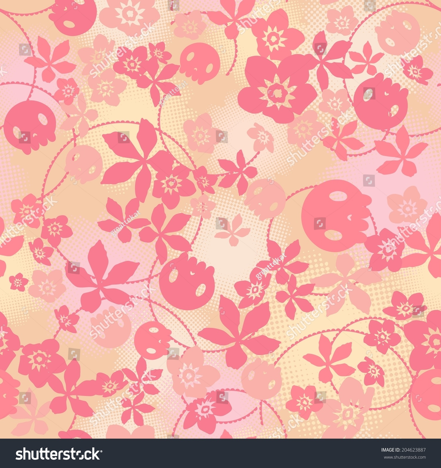Vector Seamless Cute Flowers And Skull Bitmap Dots And Circles Print