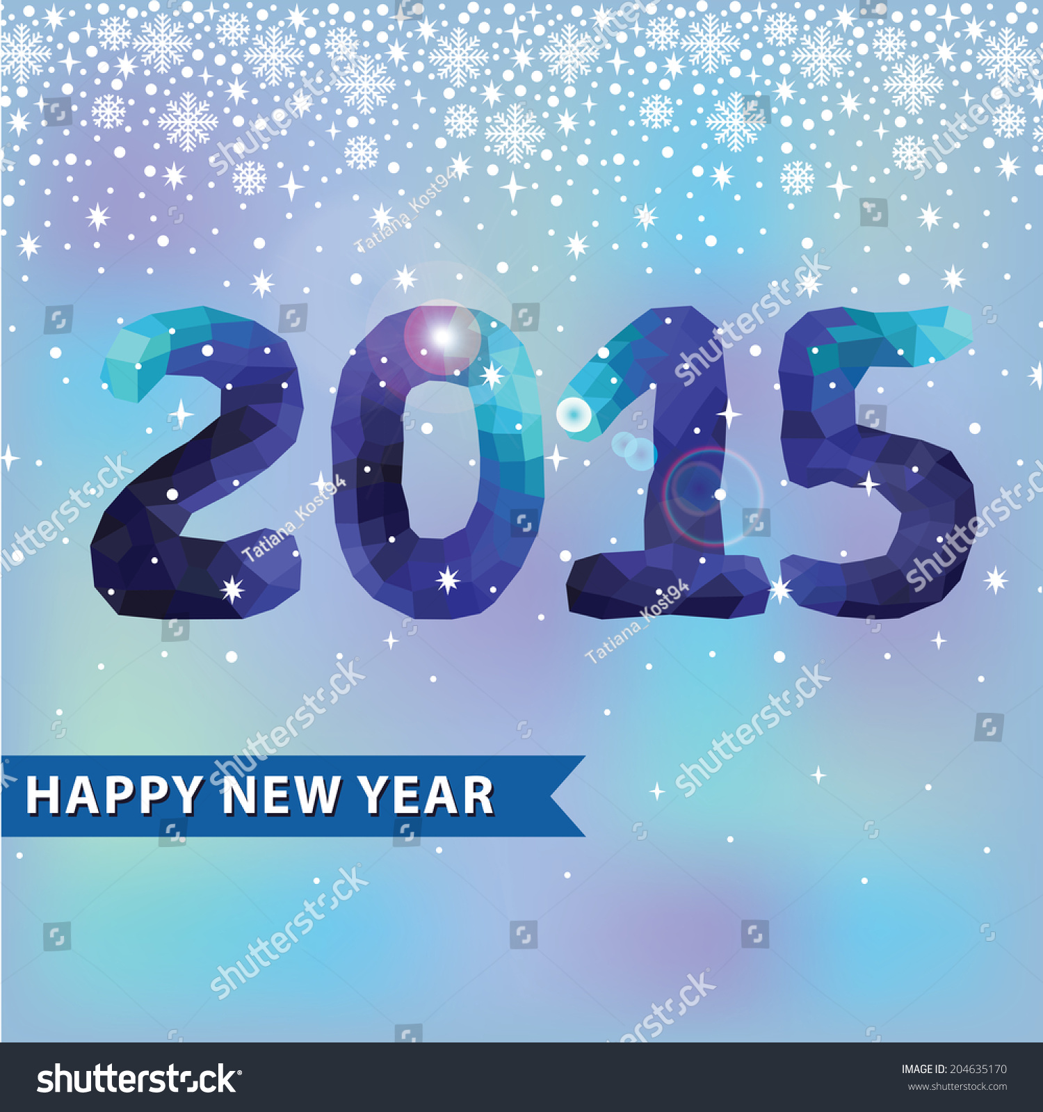 Triangles Polygons Letters 2015 New Year And Snowflakes