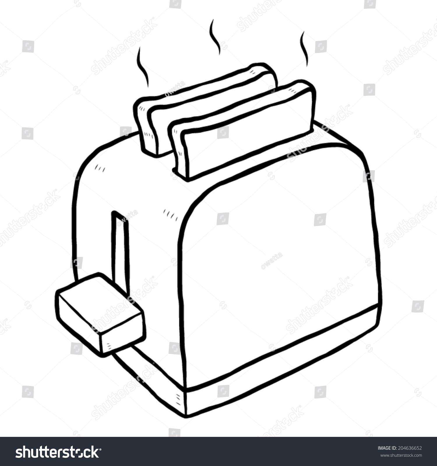 Toaster Cartoon Vector Illustration Black White Stock
