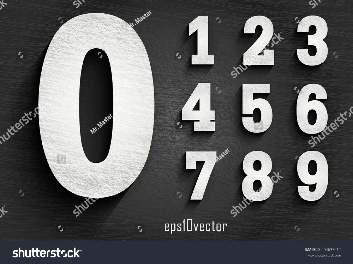 Stylish White Squared Shabby Numerals Zero Stock Vector Royalty