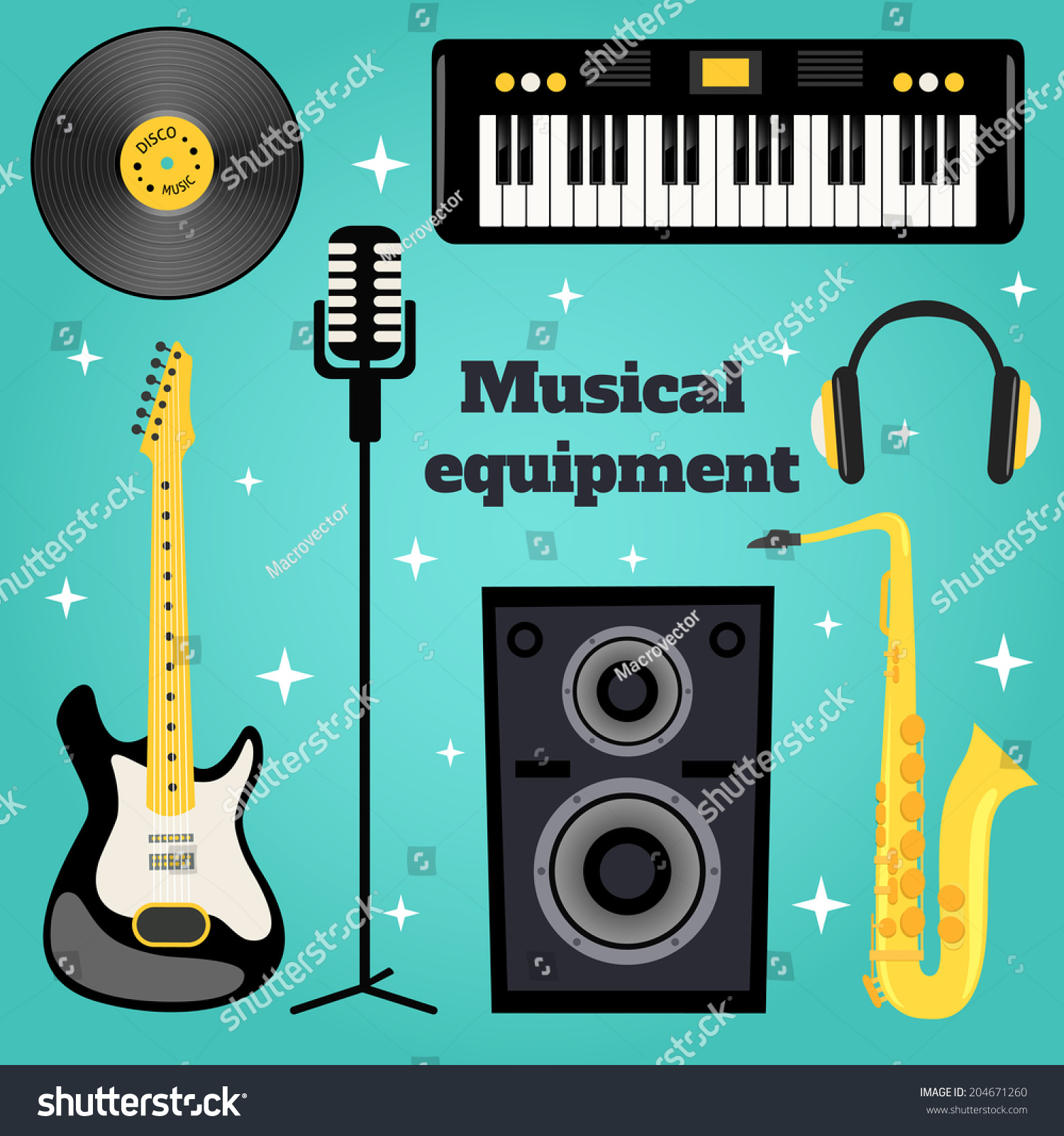 Music Equipment Set Of Guitar Vinyl Disk Keyboard Sax Microphone Isolated Vector Illustration