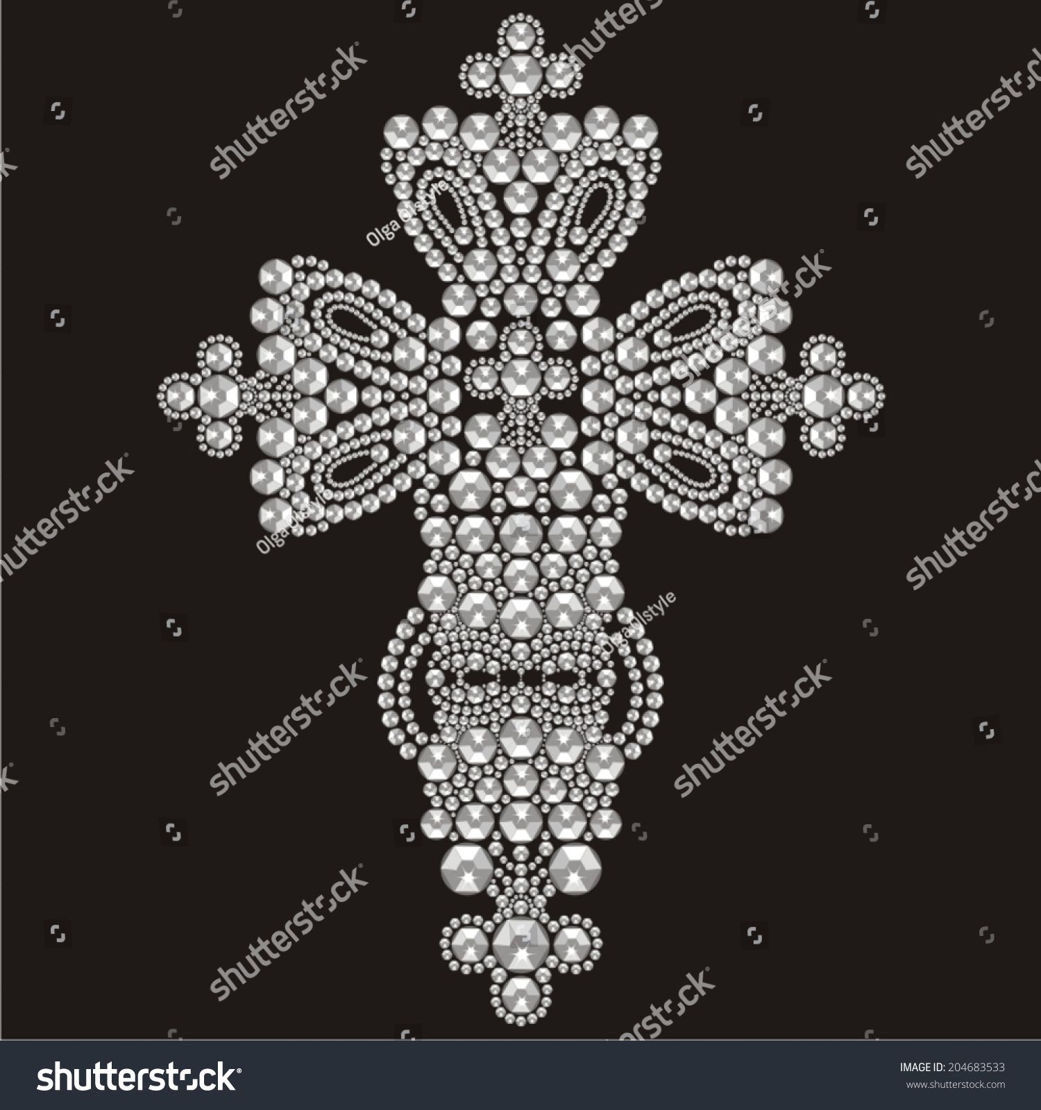 Vintage ornate christian cross from brilliant stones for Applique decoration