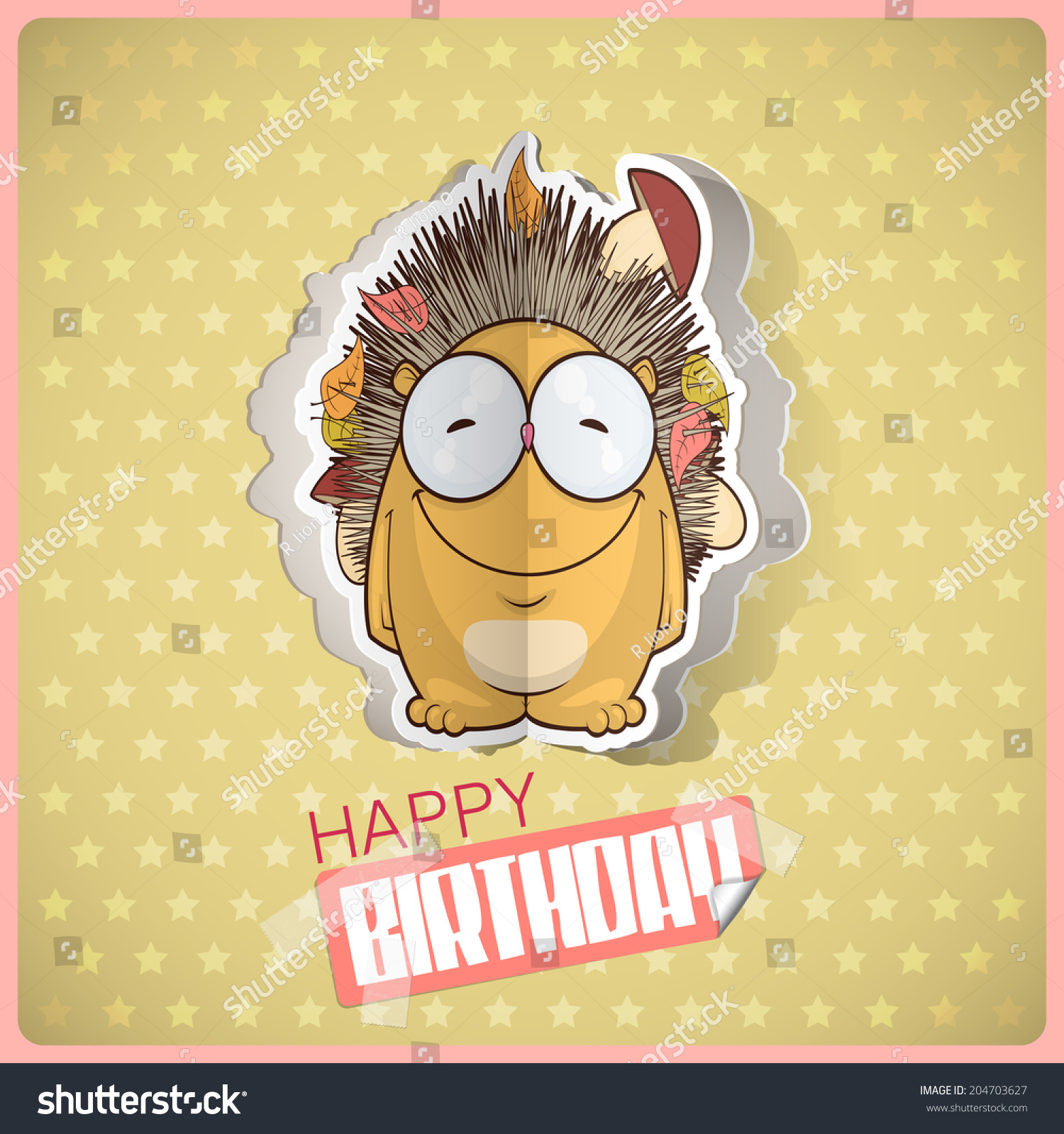 Birthday Greeting Card Cartoon Hedgehog Character Stock Vector