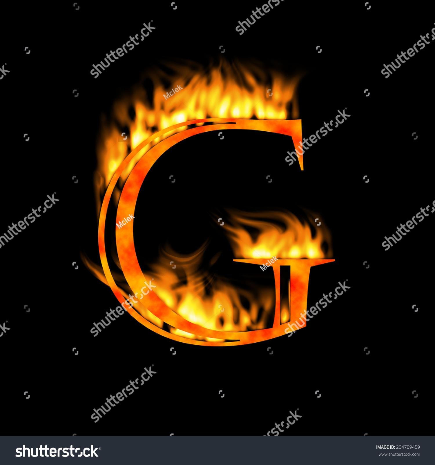 Letter G Letter Symbol Fire Alphabet Stock Illustration 204709459