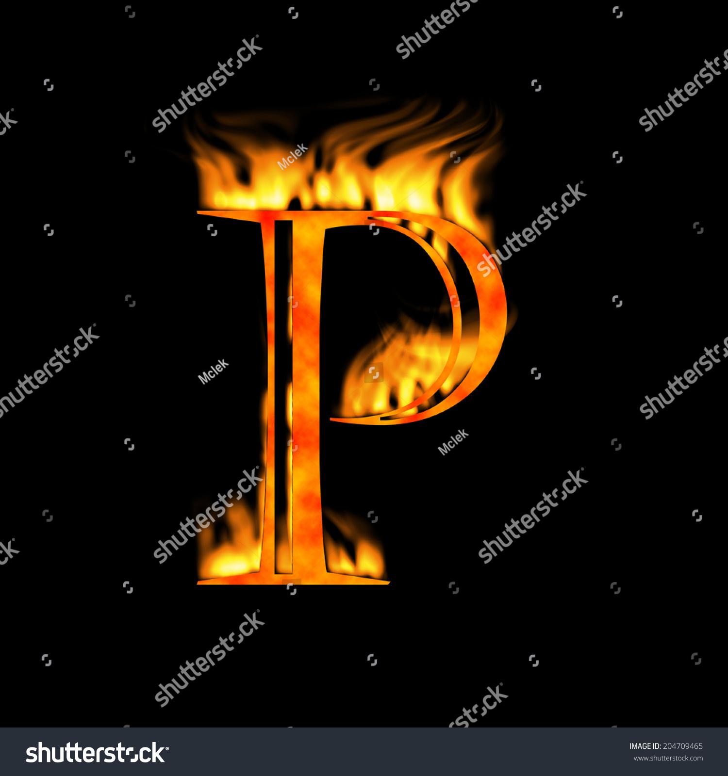 Letter P Letter Symbol Fire Alphabet Stock Illustration 204709465
