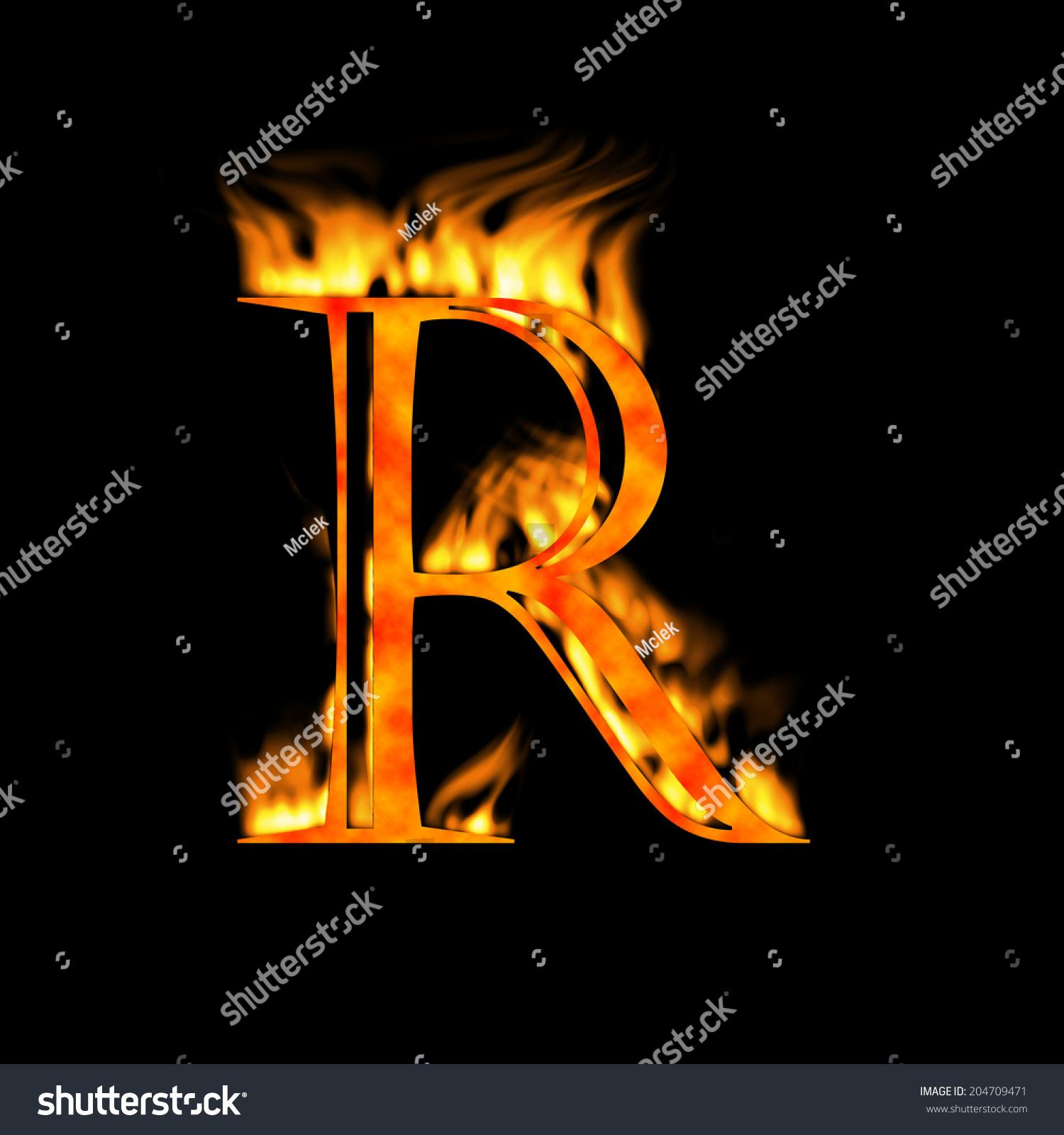 Letter R Letter Symbol Fire Alphabet Stock Illustration 204709471