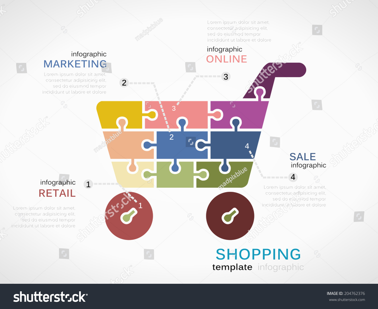 Shopping Concept Infographic Template Cart Stock Vector Diagram With Made Out Of Puzzle Pieces