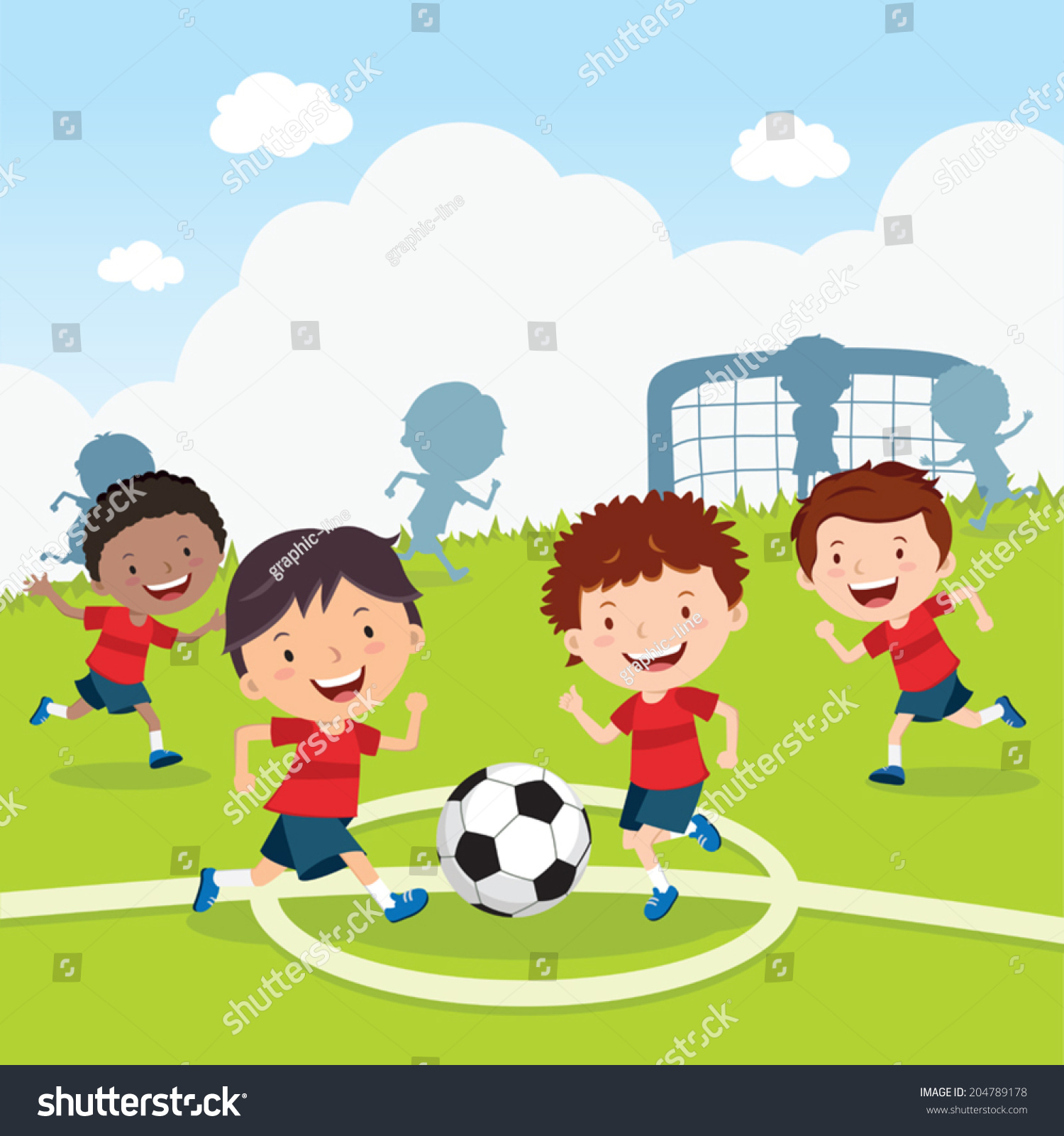 Soccer Game Boys Playing Soccer On Stock Vector 204789178 ...