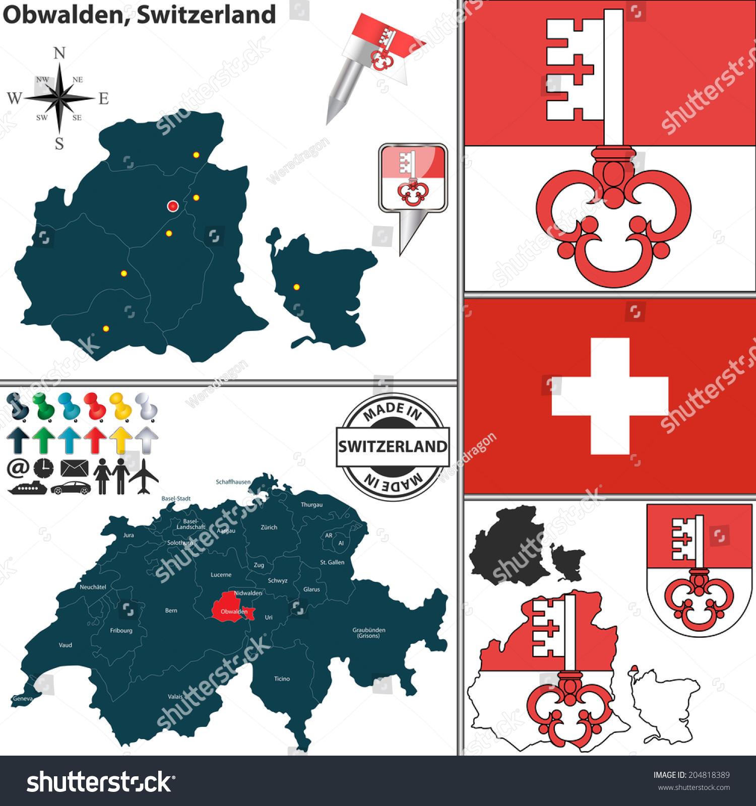 Vector Map Canton Obwalden Coat Arms Stock Vector 204818389