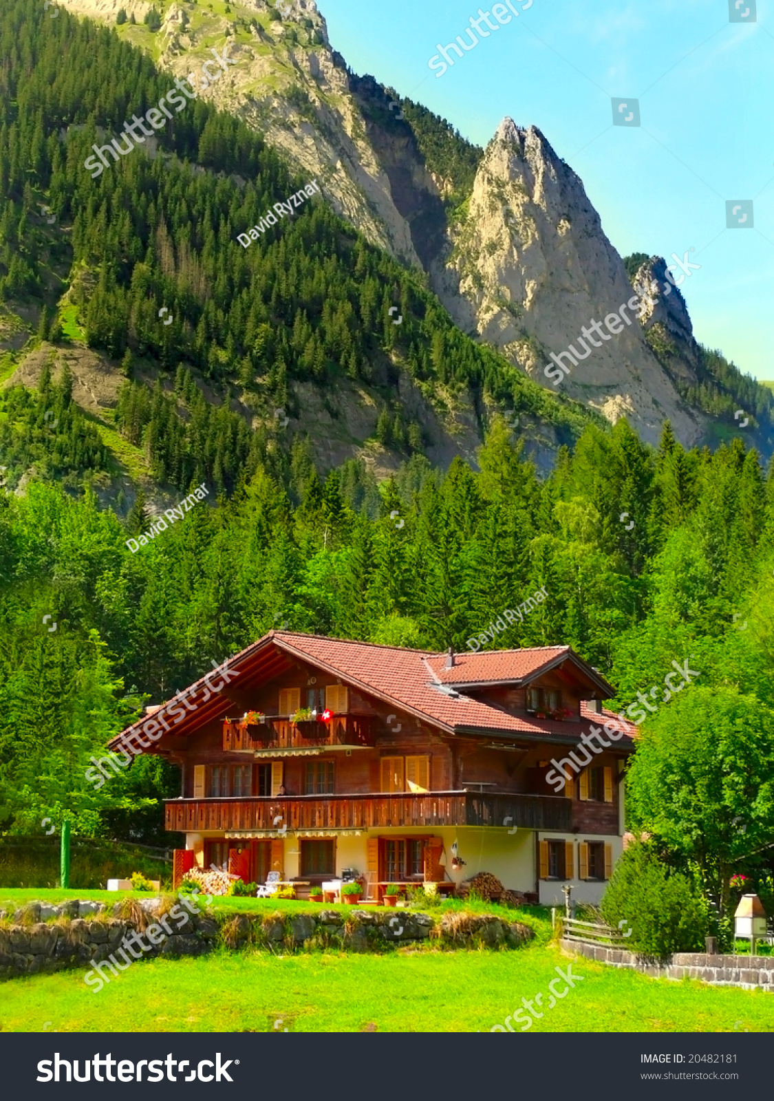 Mountain wooden house in swiss alps stock photo 20482181 - House in the mountains ...