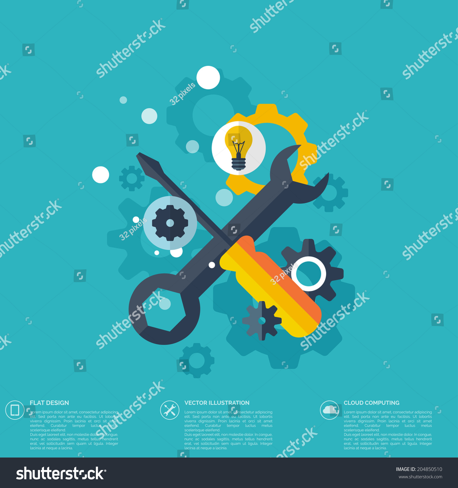 Flat repair icon mechanic service concept web site creating stock
