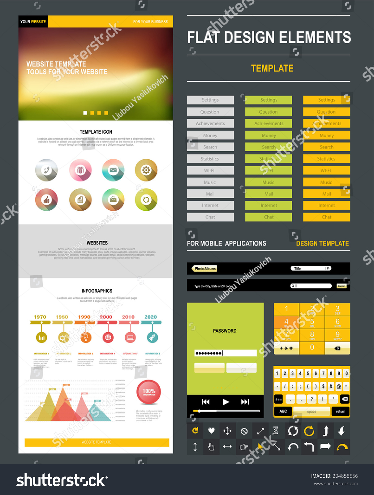 Homepage Page Website Design Template Flat Stock Vector Royalty