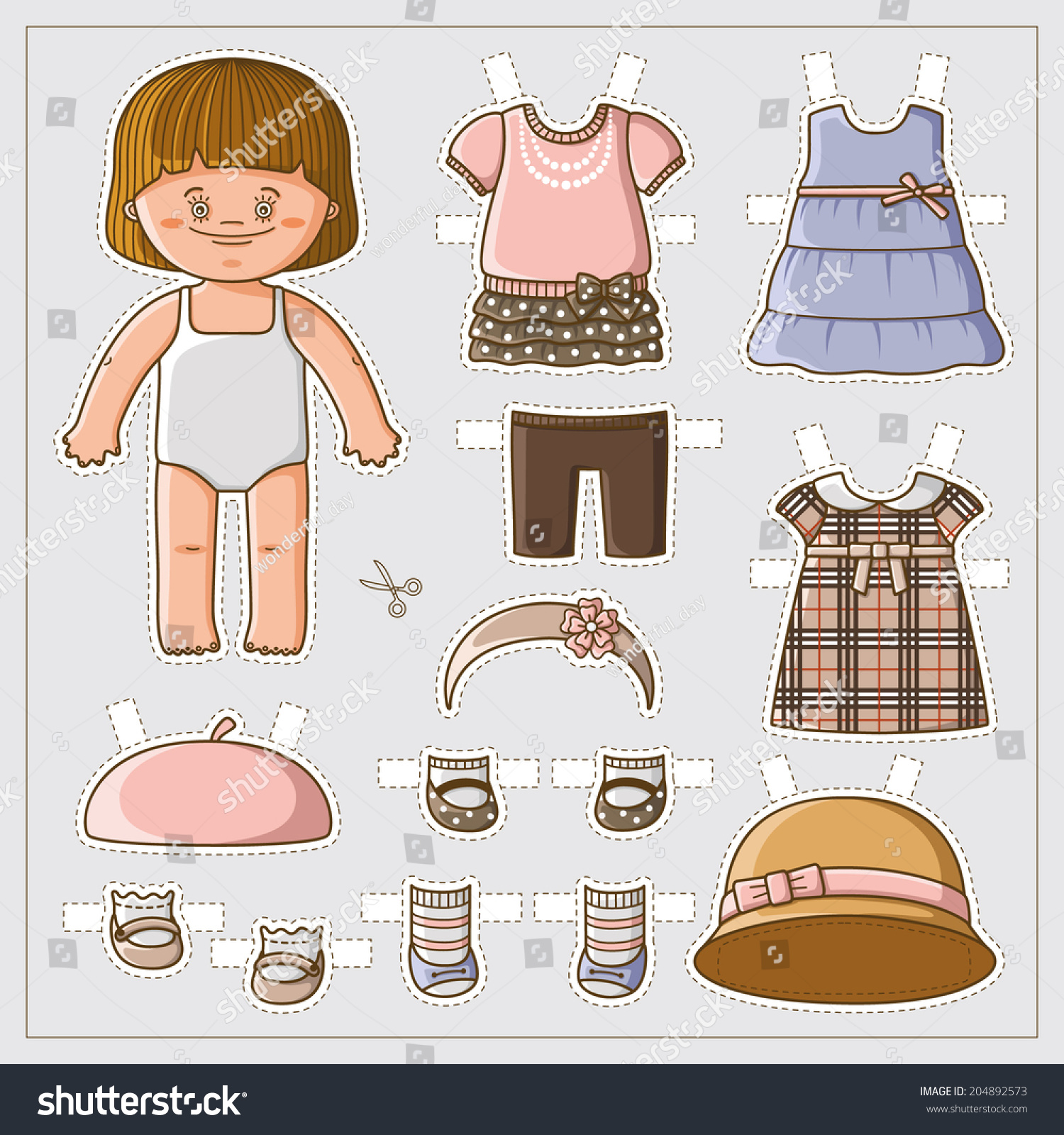 paper doll template woman - dress up cute paper doll with body template vector set of
