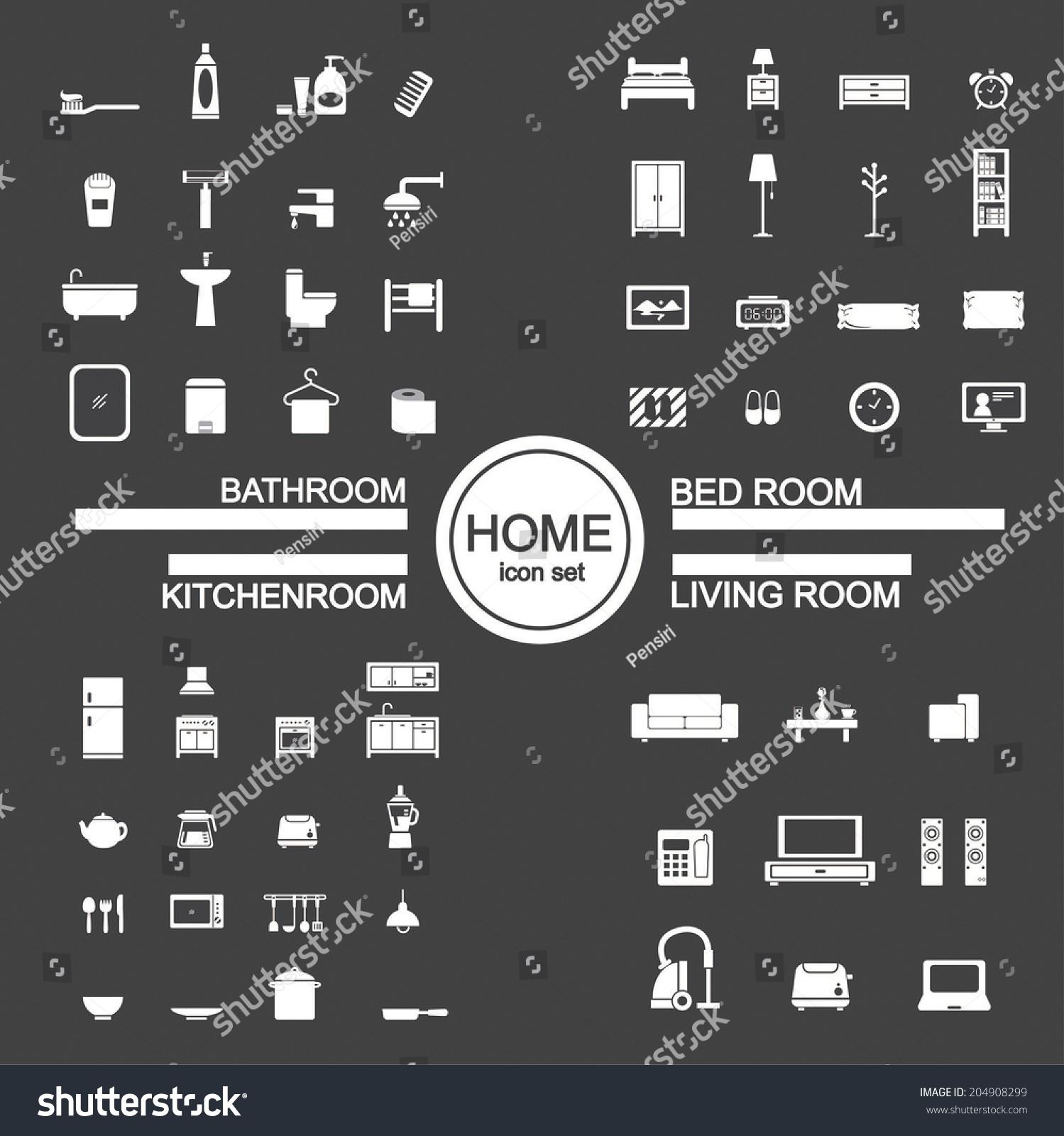 Living Room , Bedroom , Kitchen, Bathroom Icon Set Stock ...