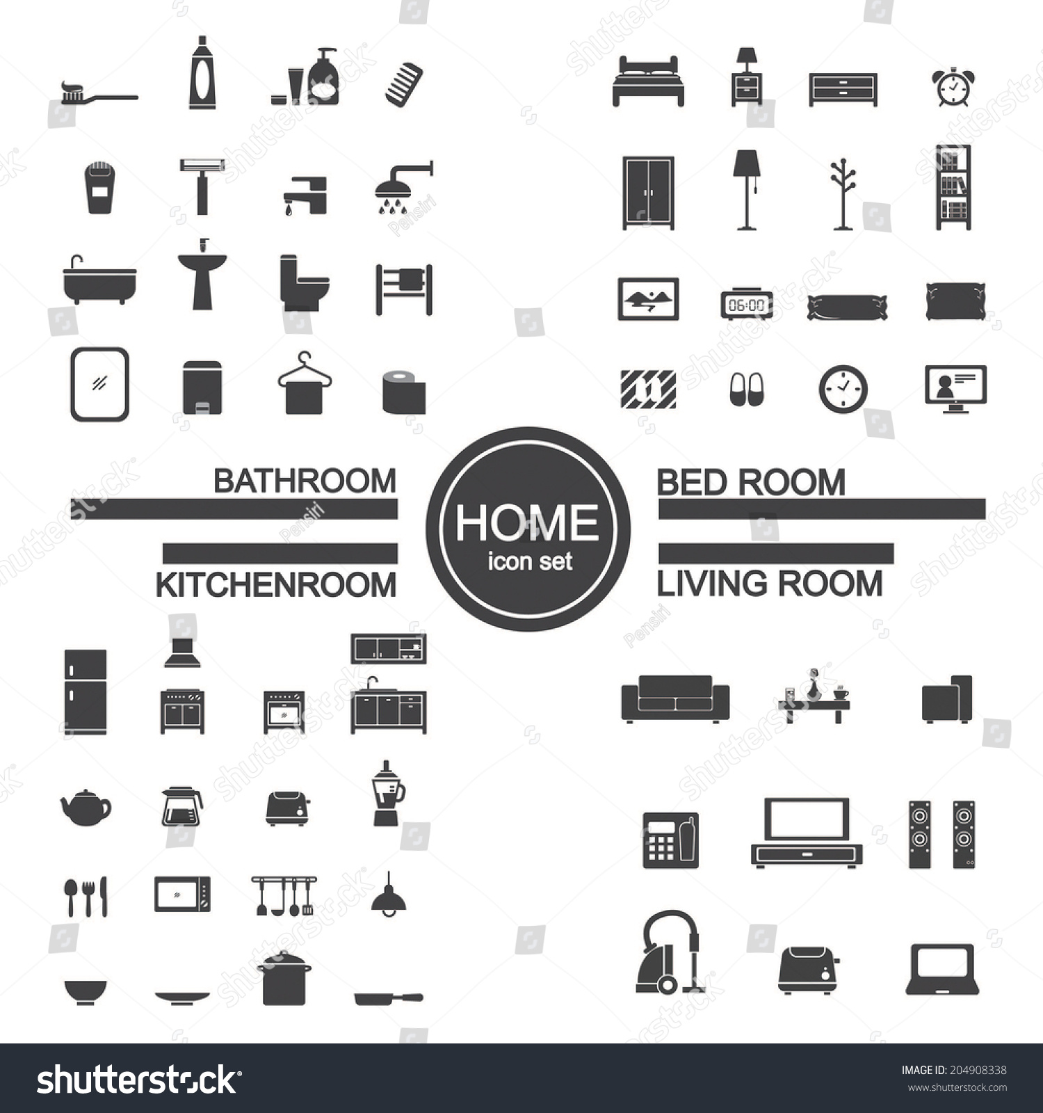 Most accurate bathroom scale 2014 - Living Room Bedroom Kitchen Bathroom Icon Set Living Room Bedroom Kitchen Bathroom Icon Stock Vector