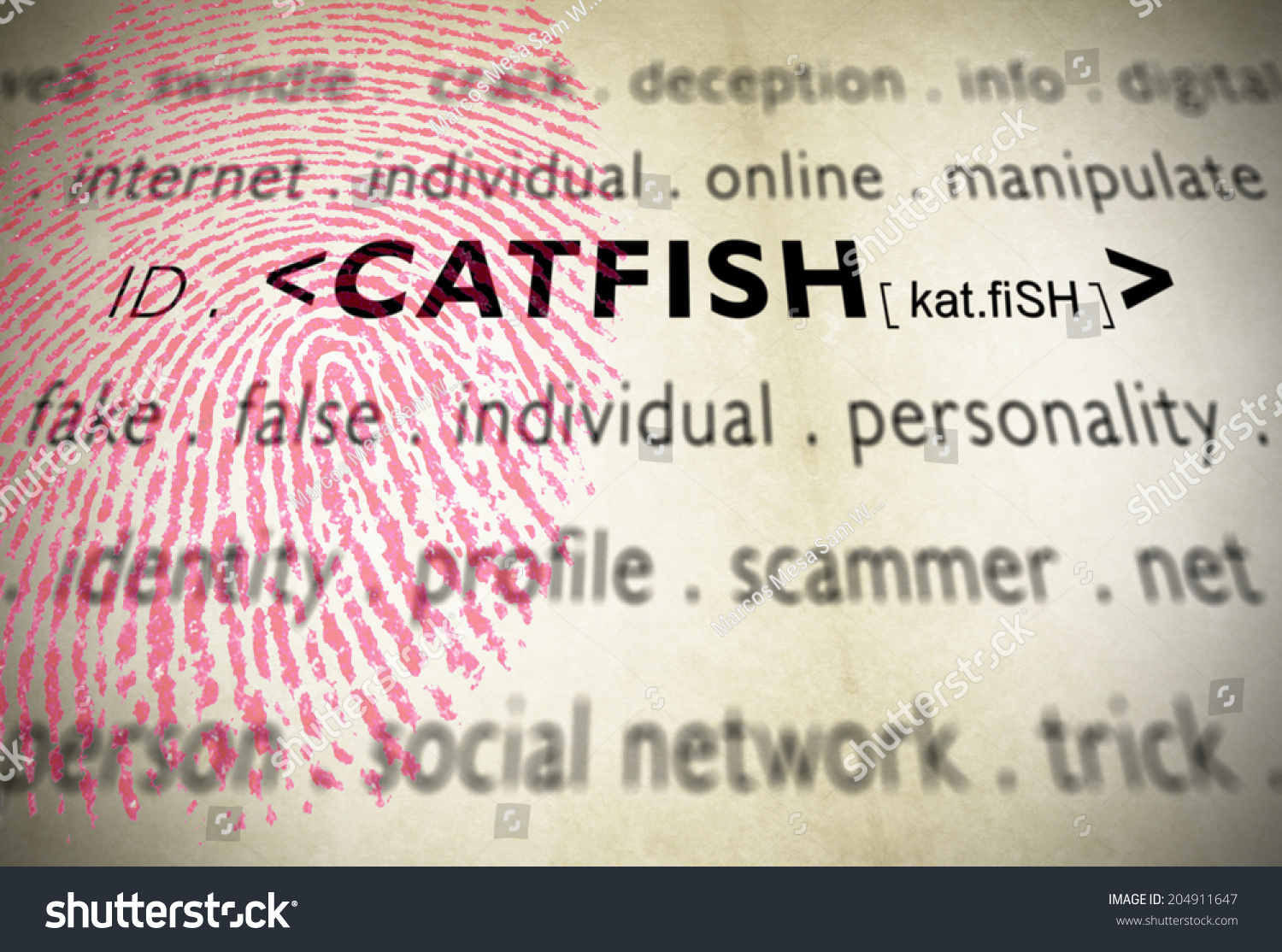 fingerprint for catfish word, term used when someone creates a false ...