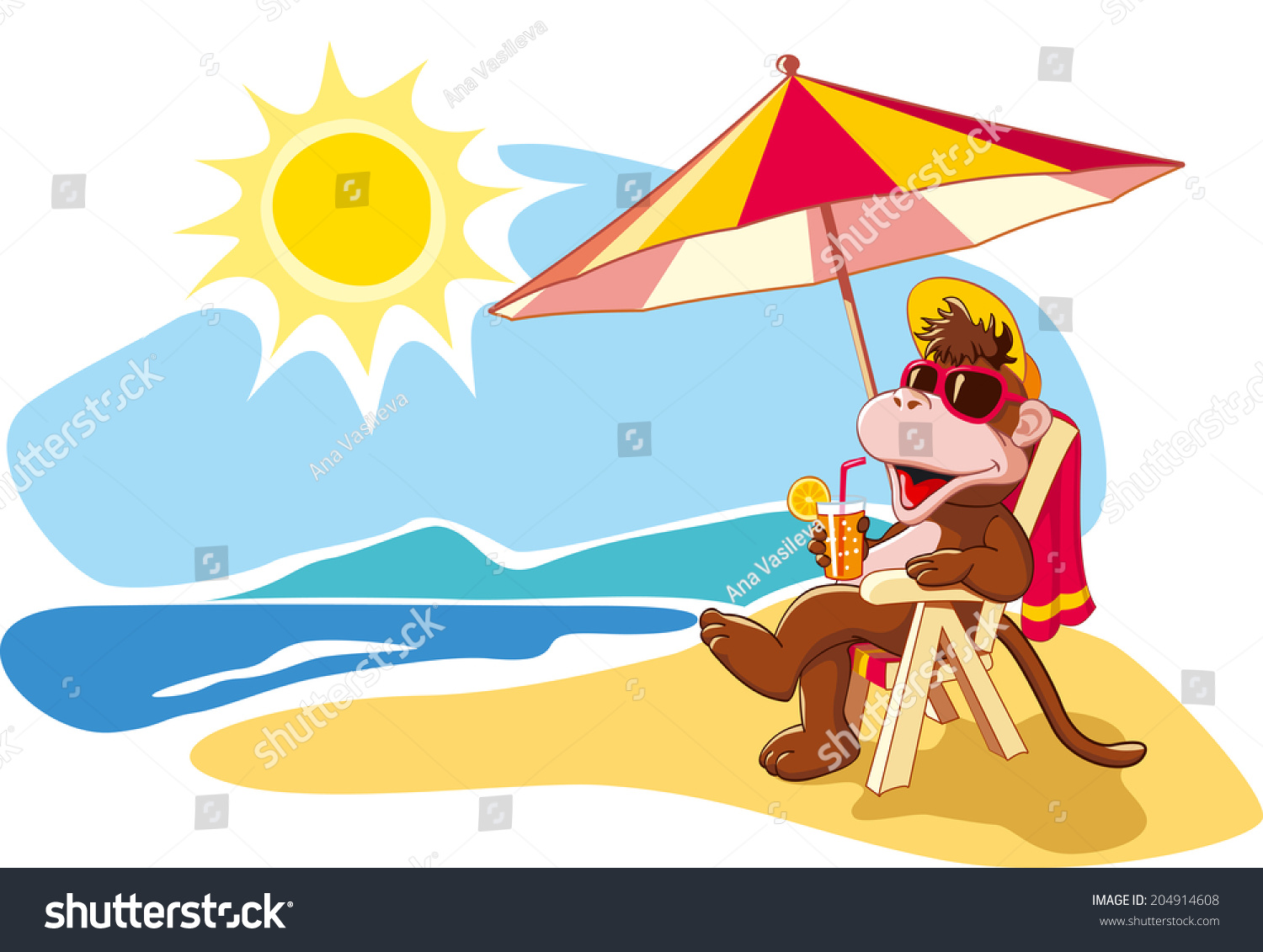 Beach chair and parasol vector illustration stock vector image - Funny Cartoon Monkey Relaxing On Beach Stock Vector