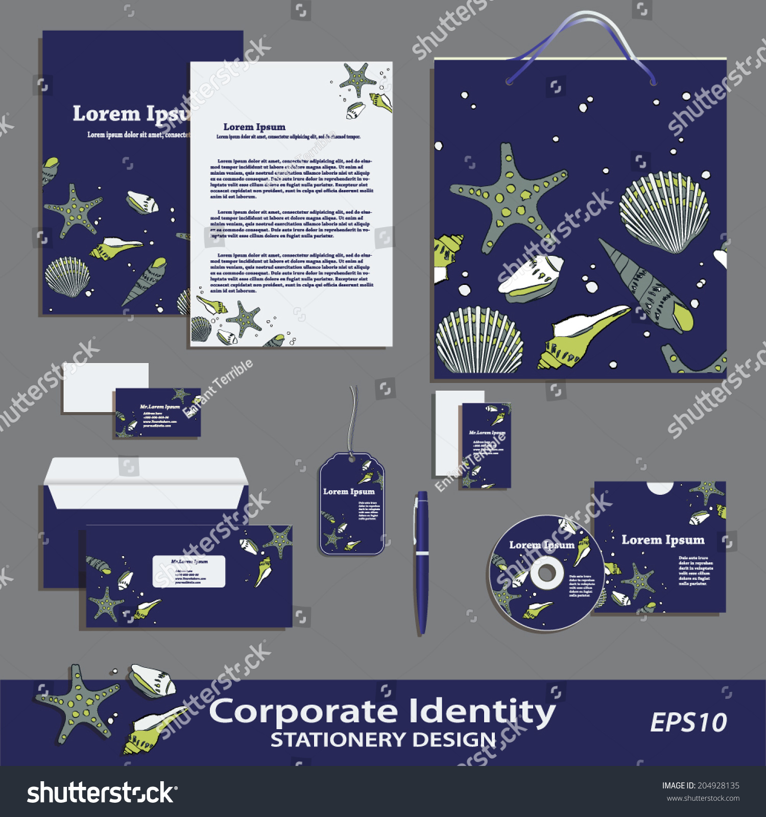 vector corporate identity sea pattern stationery stock vector