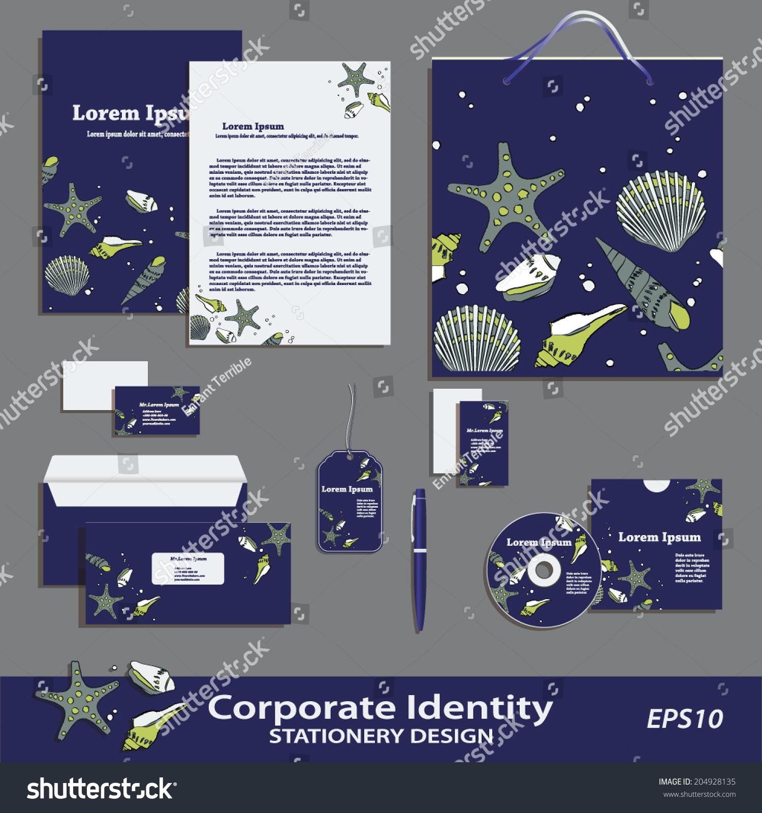 vector corporate identity sea pattern stationery stock vector