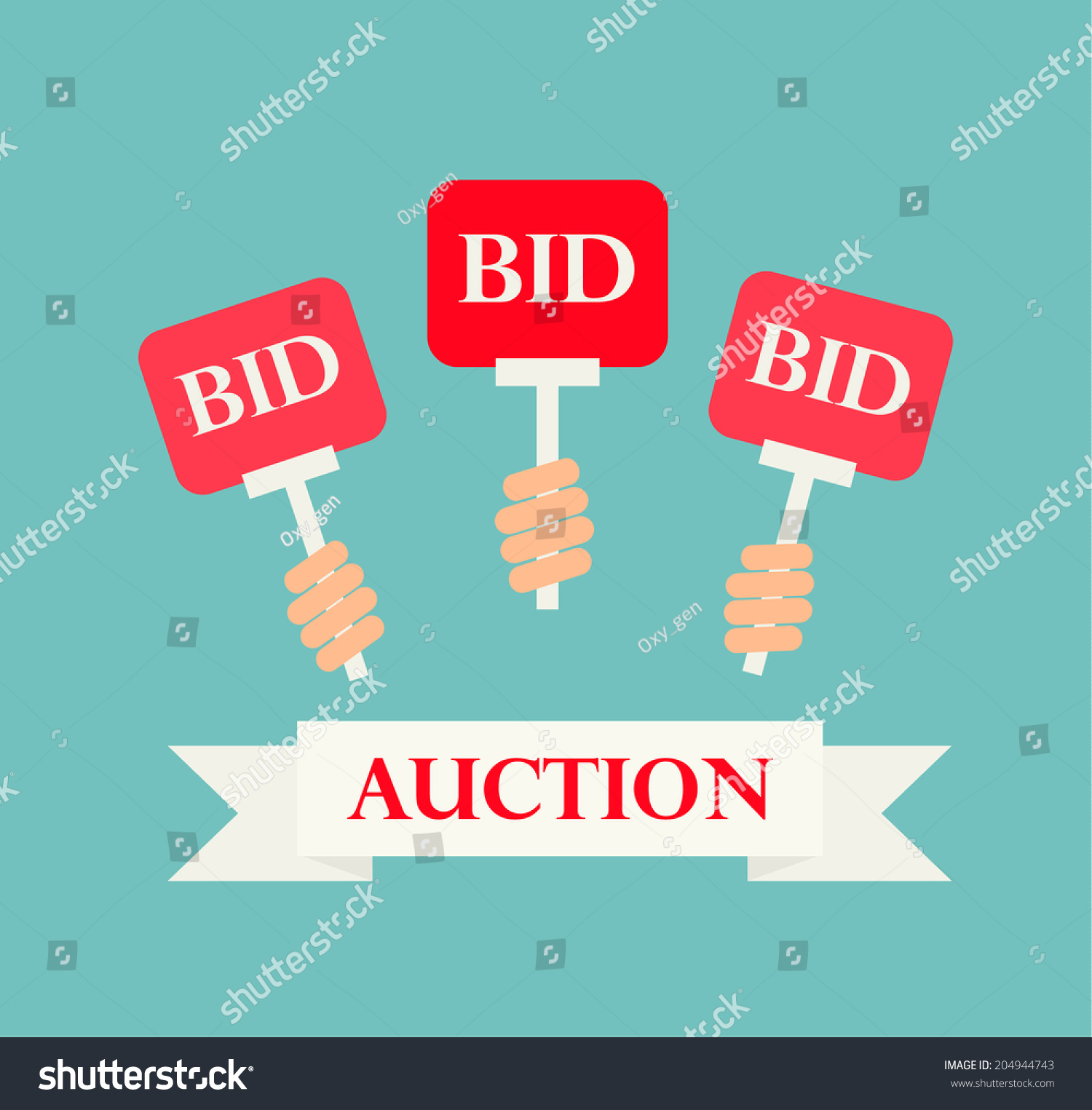 Hands holding auction paddles vector illustration of for How to bid at a live auction